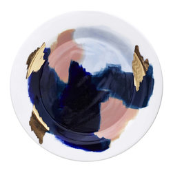 Canyon Series: Glacier Hand Painted Porcelain Dinner Plate With 14K Gold Luster - The Canyon Series is a line of work inspired our travels. Each color palette represents the awe inspiring natural hues at sunset of our favorite national parks. The dinner plate here attempts to capture the aura and magic of Glacier National Park.