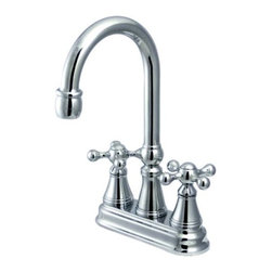 """Kingston Brass - Polished Chrome Two Handle 4"""" Centerset Bar Faucet without Pop-Up Rod KS2491KX - The double-handle centerset bar faucet is an ideal choice for those seeking traditional elegance in the kitchen. The chic triangular escutcheons and well-crafted design on the spouts and the handles adds a fancy look to the product. Fabricated from solid brass, this faucet is durable and is made from a polished chrome finish for scratch and tarnishing resistance.. Manufacturer: Kingston Brass. Model: KS2491KX. UPC: 663370021244. Product Name: Two Handle 4"""" Centerset Bar Faucet without Pop-Up Rod. Collection / Series: Governor. Finish: Polished Chrome. Theme: Classic. Material: Brass. Type: Faucet. Features: Polished chrome finish impresses with its silvery shine"""