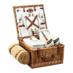 Picnic At Ascot - Cheshire Picnic Basket for Two with Blanket, Wicker W/Santa Cruz - The quality and sophistication of the English style Cheshire Picnic Basket for two is sure to impress.  Beautifully hand crafted using full reed willow, each basket includes ceramic plates, glass wine glasses, and the highest quality accessories.