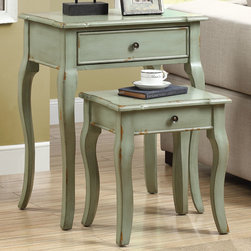 Monarch - Antique Green Veneer 2Pcs Nesting Table Set - An elegantly designed 2 piece set with a distressed antique-look green nesting tables featuring drawer storage and soft curved legs. A beautiful addition to any room in your home.