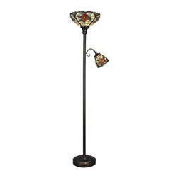 Dale Tiffany - Dale Tiffany TR90030 Victorian 2 Light Tiffany Torchiere with Side Lamp and Art - Victorian 2 Light Tiffany Torchiere with Side Lamp and Art Glass ShadesFeatures: