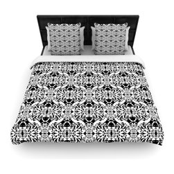 """Kess InHouse - Mydeas """"Illusion Damask Black & White"""" Monochrome Fleece Duvet Cover (Queen, 88"""" - You can curate your bedroom and turn your down comforter, UP! You're about to dream and WAKE in color with this uber stylish focal point of your bedroom with this duvet cover! Crafted at the click of your mouse, this duvet cover is not only personal and inspiring but super soft. Created out of microfiber material that is delectable, our duvets are ultra comfortable and beyond soft. Get up on the right side of the bed, or the left, this duvet cover will look good from every angle."""