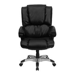 Flash Furniture - Flash Furniture High Back Leather Executive Office Chair in Black - Flash Furniture - Office Chairs - GO958BKGG - Have you ever wondered what it would be like to work from home? To be able to sit in the comfort of your own living room recliner, kicked back in a plush comfortable setting, relaxed and ready to work? Can you picture it? This overstuffed executive office chair from Flash Furniture helps to provide that very experience in the office. Providing the pillow-top comfort of a home recliner with the look and functionality of a great office chair, you can easily achieve a perfect combination of comfort and productivity. Featuring black leather upholstery, loads of soft padding, underlying foam support, a silver nylon base with black caps that prevent your feet from slipping and an ergonomic design, this executive office chair enables one of the most comfortable sitting experiences you will ever have. [GO-958-BK-GG]