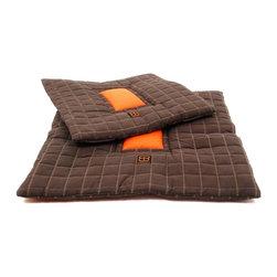 PetEgo - PetEgo Waffle Dog Bed Medium - Square Shape Pet Cushion Bed in Checked-Stitching Coffee Suede andOrange Nylon Inside.