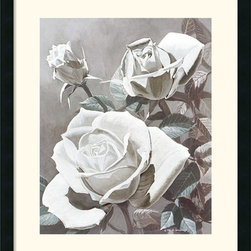 Amanti Art - White Roses Framed Print by Marianne Hornbuckle - Through her rich tone and attention to detail Marianne Hornbuckle captures the delicate elegance of white roses.