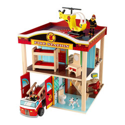 Kidkraft - KidKraft Fire Station Set - Kidkraft - Playsets - 63236 - Young boys and girls will love pretending they are real-life heroes with our adorable Fire Station. This play set is full of fun details like the helipad on the roof and garage doors that open and close. There's nothing as exciting as saving the day so make sure you pick this set up for all the young adventurers in your life. This set includes 10 pieces of furniture, 2 bendable firefighters, 2 fun vehicles: a helicopter and a fire truck! Also featured are garage doors that open and close and colorful walls decorated with close attention to detail.