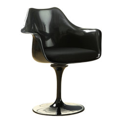 LexMod - Lippa Dining Armchair in Black - The Lippa Armchair adds the perfect modern classic touch to any dinning space. Sturdy, easy to clean and lovely to behold, these chairs elevate a meal to whole new levels of enjoyment. Available in an array of colors, the Lippa Chair makes it easy to express your individual style.