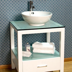 """24"""" Mila Console Vanity with Vessel Sink - This console vanity combines the sleek lines of a modern design with frosted glass for a laid-back, urban look that works for a variety of modern decor styles. Chrome hardware adds a clean finishing touch."""