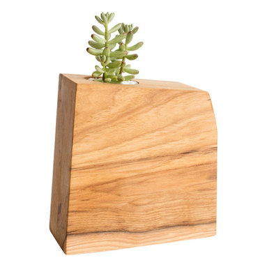 Few Bits - Modern Wood Succulent Planter/Tillandsia Planter, Hickory - These planters are made from thick blocks of wood that are laminated together and then cut into a abstract geometric shape. After they are carefully sanded smooth, a hand rubbed danish oil is applied for a matte finish.