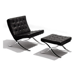 Knoll - Barcelona Lounge Chair and Ottoman | Smart Furniture - Strike a languid pose when you lounge back in this modern, attractive chair. Put your feet up on the gorgeous matching ottoman, enjoying the comfortable angles and the chic materials of stainless steel and luxe leather. This iconic Barcelona chair designed by Ludwig Mies van der Rohe is an absolute must-have piece.