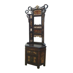 Golden Lotus - Chinese Fujian Carving Scenery Wash Stand Rack - This is a Chinese bedroom wash basin stand with nice Fujian style carving and golden graphic. It is a charm seat or stand to be displayed in the modern home. ( the back rack and the base can be separated )
