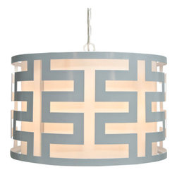 Worlds Away - Worlds Away Hicks White Lacquer Greek Key Pendant - Geometric midcentury modern style is yours when you hang this polished white lacquer pendant in your home. The interlocking greek key pattern of this elegant shade will wow you, and the ethereal glow the light gives off will warm your whole room.