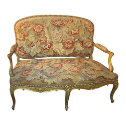 Regency-Style Settee Upholstered in 18th Century Tapestry - This Regency-style settee is upholstered in an 18th century tapestry. The final effect is absolutely stunning.