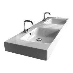 "WS Bath Collections - Cento 55.1"" x 17.7"" Wall/Counter Ceramic Sink - Cento by WS Bath Collections Bathroom Sink 55.1 x 17.7, Wall Hung or Counter Top Installation, In Ceramic White Sink, Does Not Include Optional Accessories, Designed by Marc Sadler, Made in Italy"