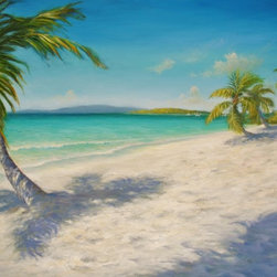 """Original Caribbean Seascape painting (Solomon Beach) - Solomon Beach is an original 30""""x40"""" tropical Caribbean beach oil painting on gallery wrap canvas of Solomon Beach, St. John, USVI. This beach can only be accessed by boat or by a 15-minute hike through the tropical under-growth from Cruz Bay."""