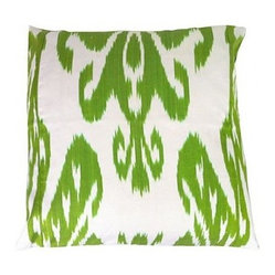 5 Surry Lane - Green Silk Ikat Pillow - Lime green and white have never looked better together than on these beautiful silk pillows. The iconic ikat pattern is a great foil to the slightly preppy palette. Mix and match these with equally bright colors for a playful look on your bed or sofa.