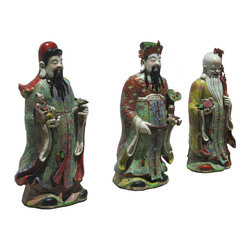"Golden Lotus - Set/3pcs Chinese Antique Colorful Porcelain Hand Made FuLuShou Statue - This is a set of three pieces beautiful hand carving antique statue which is made of porcelain.  They represent ""Fu-Lu-Shou"" which means Fortune/Prosperity/Longevity from right to left.  They come with very detail carving on it, look at their face, head and even their cloth."