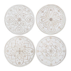 Jardins Du Monde Cocktail Plates - Set of 4 - Exquisite antiqued white patterns, drawn from the European heyday of formal garden design and stylishly rendered in three-dimensional beading and twisted-thread patterns that add the upscale air of fine lace to their look, adorn each of the four dishes in the Jardin du Monde Set of 4 Cocktail Plates.  Place in a row on a shelf or wall or use them to serve an exquisite dessert.