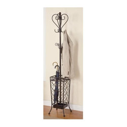 Coaster - Coat Rack w Umbrella Stand - Spacious umbrella holder. Lattice accents on the base. Two levels of hook. Top with coats. Metal finish. 12.5 in. W x 12.5 in. D x 70.75 in. H. Warranty
