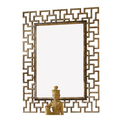 Hooker Furniture - Hooker Furniture Melange Fretwork Mirror in Gold Finish - Hooker Furniture - Mirrors - 63850094 - Come closer to Melange, and you will discover something unexpected, an eclectic blending of colors, textures and materials in a vibrant collection of one-of-a-kind artistic pieces.