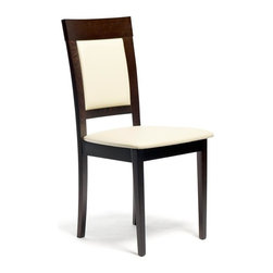 Aeon Furniture - Newport Dining Chair in Rich Coffee with Beig - Set of 2. Stylishly Designed Solid Beech Wood Dining Chairs in a Rich Coffee Finish with a Beige Leatherette Padded Seat and Back. Assembly Required. Seat Height: 18 in.. 20 in. L x 18 in. W x 37.25 in. H (12.75 lbs.)Stylishly designed with functionality and comfort in mind, this solid beech wood chair is simple yet elegant.  Its padded back and seat comfortably encourages guests to linger for quality time with family and friends.