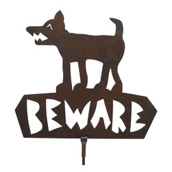 'Beware' Sign on Rod - Our Beware Sign features a dog with big teeth. It is a great warning sign with class. It is cut from heavy rusted steel and will last for years. It is designed by California artist Susan Regert and made in America.