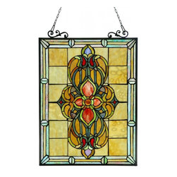None - Tiffany Style Victorian Design Window Art Glass Panel - This Tiffany-style,Victorian design window panel features 255 pieces of beautiful hand-cut art glass that will lend beauty and color to any room and will compliment many decors,for a unique addition to your home decor.