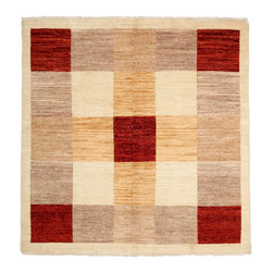 """Darya Rugs - Darya Rugs Modern, Ivory, 5'1"""" x 5'2"""" M1628-243 - Darya Rugs Modern collection represents a minimalistic, timeless statement that complements transitional, contemporary, and traditional interiors. All rugs were hand-knotted by skilled artisans and weavers."""