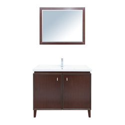 """Stufurhome - 40"""" Statesman Single Sink Vanity - Clean and simple lines are the hallmark of the 40"""" Statesman Single Sink Vanity. Refined in its design, the Statesman adds form and function to any master or guest bathroom. Its gorgeous dark finish is complemented by stunning metal hardware and a gleaming white porcelain sink. Generous space inside the contemporary-styled vanity provides practical space for toiletries. Dimensions: 40 in. x 19 in."""