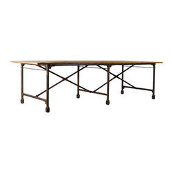 Curations Limited - Large Vintage Wood and Metal Dining Table -