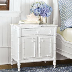 """Hampstead Nightstand - English Colonial style doesn't always have to mean dark, heavy stained wood finishes. The Hampstead Nightstand breaks all the rules with is exotic good looks created in a white finish to coordinate with your other white cottage or shabby chic decor.Dimensions: 25 1/2""""W x 17 1/2""""D x 26 1/2""""H"""