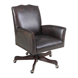Hooker Furniture - Hooker Furniture Executive Swivel Tilt Chair EC417-099 - Leather: Carriage Brown or Black