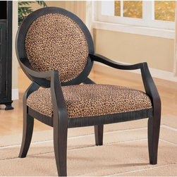 Asia Direct Home - Accent Chair with Leopard Print - Leopard Print Accent Chair.. Chinese Maple in Black Finish with Chenille Seat.. Chairs: 26.5 in. W x 28.5 in. D x 38 in. H. Seat: 4.5 in. Thick Cushion, 23 in. D x 26 in. W. Some assembly required.Leopard Print Accent Chair. The classic black frame accentuates the Leopard spotted fabric to give this chair a unique look and feel. The fully padded back rest provides extra comfort. This arm chair is sure to liven up any decor.