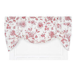 Ellis Curtain - Winston Red 60 x 24-Inch Tie-Up Valance - - Ellis Curtain Winston Monochromatic Floral Print Tie-Up Valance - The easiest way to completely transform any room in your house is to add a new set of window treatments. The Winston Curtain Program is a monochromatic floral Jacobean print that is sure to add charm and harmony to any room. The red floral scheme on off white background creates the perfect accent that is designed to coordinate easily within your home decor. Made with 52-percent polyester and 48-percent, 5-ounce cotton duck fabric, creating a smooth draping effect with soft texture and easy maintenance. The Tie-Up Valance is a one-piece valance with two adjustable strap ties that drape over a decorative 3-Inch rod pocket for easy hanging. Width is measured overall 60-Inch, length is measured overall 24-Inch from header top to bottom of panel. Machine washable   - A drapery rod, which is not included, is required to complete installation   -Please note that bottom curtains are sold separately Ellis Curtain - 730462718709