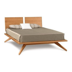 "Copeland Furniture - Copeland Furniture | Astrid Platform Bed with 2 Adjustable Headboard Panels - Ki - Made in Vermont by Copeland Furniture.With its deeply splayed legs producing dramatic cantilevers, the Astrid Bedroom is an engineering feat that defies expectations and inspires a sense of possibility.The Astrid Platform Bed with 2 Adjustable Headboard Panels is crafted in solid cherry hardwood, maple hardwood, or in a combination of solid walnut and dark chocolate maple. A true platform bed designed for a mattress only, Astrid is also available with a single adjustable headboard or with no headboard panels. Recommended mattress thickness is 8"" to 12"". Also available in Queen or California King. The King size is available in a range of wood finishes and your choice of satin top coat. Product Features:  Designed for a matress only Made from sustainably harvested hardwoods Finished with a silky, smooth to the touch top coat Tough enough to stand up to the wear and tear of daily family activities Wood care does not require oil, polishes, or cleaners"