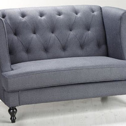 Home Decorators Collection - Morgan Settee - The Morgan Settee is the perfect way to begin coordinating any room design. This sofa marries classic design details like tufting, cording and turned legs with a sleek, modern profile that features slim, gently curving arms. The polyester upholstery offers the rich look of wool. Tufted back. Wood legs in espresso finish.