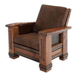 Woodland Creek Furniture - Upholstered Barnwood Chair - The Upholstered Barnwood Chair is a gorgeous piece of furniture that will elevate the look of any room in the home or workplace. Made with beautifully antiqued barnwood, this character-rich piece offers the comfort and durability you would expect from a custom built product. Hand-scraped inlay embellishments meld the perfect balance between elegant and rustic materials. The faux leather cushions give it a warm comfort and feel that will make you want to sit back and relax.
