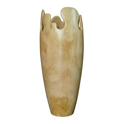 Bahari - Tamarind Fascinating Soft Vase - Tamarind Fascinating Soft Vase.  Handcrafted from a one solid piece of Tamarind wood. Need a glass liner to hold water.  Clean with warm clothes and dry immediately.