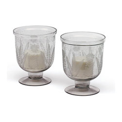 Go Home - Grasse Hurricanes-Available as Pair - Fantastic Grasse Hurricanes made from hand blown glass and has hand etched finish.It is sold as a pair.You can use it as candle holder , sure will give amazing look to your home decor.