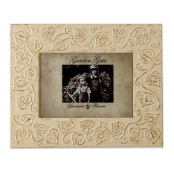Lawrence Frames - Garden Gate Rustica Ivory Floral Vine 5x7 Metal Picture Frame - Gorgeous embossed metal picture frame with distressed ivory floral vine design.   This wide border frame makes a beautiful accent in any room.  Backs are fitted with high quality black velvet backing.  Can be used vertically or horizontally for tabletop display, or wall mounted vertically or horizontally with included hangers.  Individually boxed.