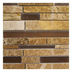 GL Stone - Antique Random Strip Glass and Mosaic Tile, 1 Carton ( 11 Sheets ) - Antique random strip glass and stone mosaic tile is a feature wall behind your bathroom vanity. A beautiful random strip linear mix brownish glass combined with travertine and emperador light marble. It is suitable for installation on floors, walls and countertops in commercial and residential spaces such as bathrooms, kitchen backsplash,etc.