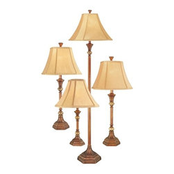 Design Classics Lighting - Traditional Floor and Table Lamp 4-Pack with Marble Accents - DT4C5770S-20/165 - Add instant elegance to your family room with this matching lamp set. It includes two table lamps, one floor lamp and one accent lamp. Each lamp features an attractive bronze finish with marble accents. The golden shades boast a nice traditional shape. The floor lamp measures 60 inches tall and uses a three-way 150-watt bulb. The table lamps measure 28-1/2 inches tall. The accent lamp is 16 inches tall. Takes (1) 150-watt incandescent A21 bulb(s). Bulb(s) sold separately. Dry location rated.