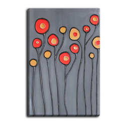 DiaNoche Designs - DiaNoche Canvas Wall Art by Katy Karnes Poppies Silver - DiaNoche Designs works with artists around the world to create fabulous and unique home decor products.  Canvas Wall Art is the finishing touch to every home, office, nursery, bedroom and living space.  Each artistic wall hanging is a reprint of an original art piece and comes ready to hang with hooks and a backing for a clean look and feel.  The inks are UV tested to ensure a fade free lifetime and can be cleaned with a damp cloth.  These are VERY sturdy creations that adds a touch of your class!  Choose unframed or a colored black or walnut fram made from a textured recycled plastic.