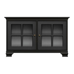 Howard Miller Custom - Kelsey Cabinet in Antique Black - This cabinet is finished in Antique Black on select Hardwoods and Veneers, with Antique Brass hardware. 2 doors with plain Glass and cross panes. 2 adjustable interior shelves. Cove profile on top and Ogee profile base. Hardware: knobs on doors. Features soft-close doors and metal shelf clips. 50 1/4 in. W x 23 1/4 in. D x 31 in. H