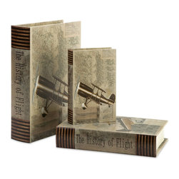 iMax - iMax Vintage Plane Book Boxes - Set of 3 X-3-45086 - With vintage plane imagery and topographical maps, this set of three book boxes looks great on any bookshelf or side table.