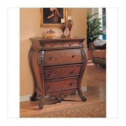 "Coaster - Accent Cabinet (Warm Brown) By Coaster - Traditional style. Storage drawers. Carved arabesque leaf pattern. Sophisticated and feminine feel. Nail head trim lined edges. Antique brass knobs. Made wood veneers and solids. Brown finish. 35 "" W x 20 "" D x 42 "" H.  Accentuate your living room, hallway or bedroom with this elaborate designed Bombe chest. A drop down lid is implemented, providing plenty of space for a laptop, stationary and mail storage. It simply is the ultimate combination of traditional design and secretary use!"