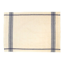 Blue Unbleached Rectangle Tablecloth - Lay your table in authentic style with the country associations of the Blue Unbleached Rectangle Tablecloth's gingham-striped border - a design which beautifully pairs the inherent elegance of linen with the faintly rustic, wonderfully nostalgic feel of its natural flaxen color. Contrast with a clean pop of white in your dishes or use to deepen the effect of colored dinnerware.