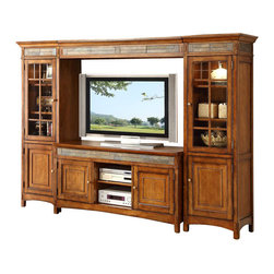 Riverside Furniture - Riverside Furniture Craftsman Home TV Entertainment Center in Americana Oak - Riverside Furniture - Entertainment Centers - 2941389Set -Riverside Furniture Craftsman Home TV Console in Americana Oak