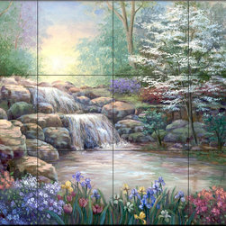 The Tile Mural Store (USA) - Tile Mural - Hidden Waterfall I - Kitchen Backsplash Ideas - This beautiful artwork by Vivian Flasch has been digitally reproduced for tiles and depicts a garden scene with a waterfall and lake.  This garden tile mural would be perfect as part of your kitchen backsplash tile project or your tub and shower surround bathroom tile project. Garden images on tiles add a unique element to your tiling project and are a great kitchen backsplash idea. Use a garden scene tile mural for a wall tile project in any room in your home where you want to add interesting wall tile.