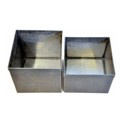 Hanging File box pair - Integrally welded and assembled with bronze this Vintage Inspired hanging file box pair offers rich contrasts between the warmth of bronze and the cool blue blacks of oxidized steel.